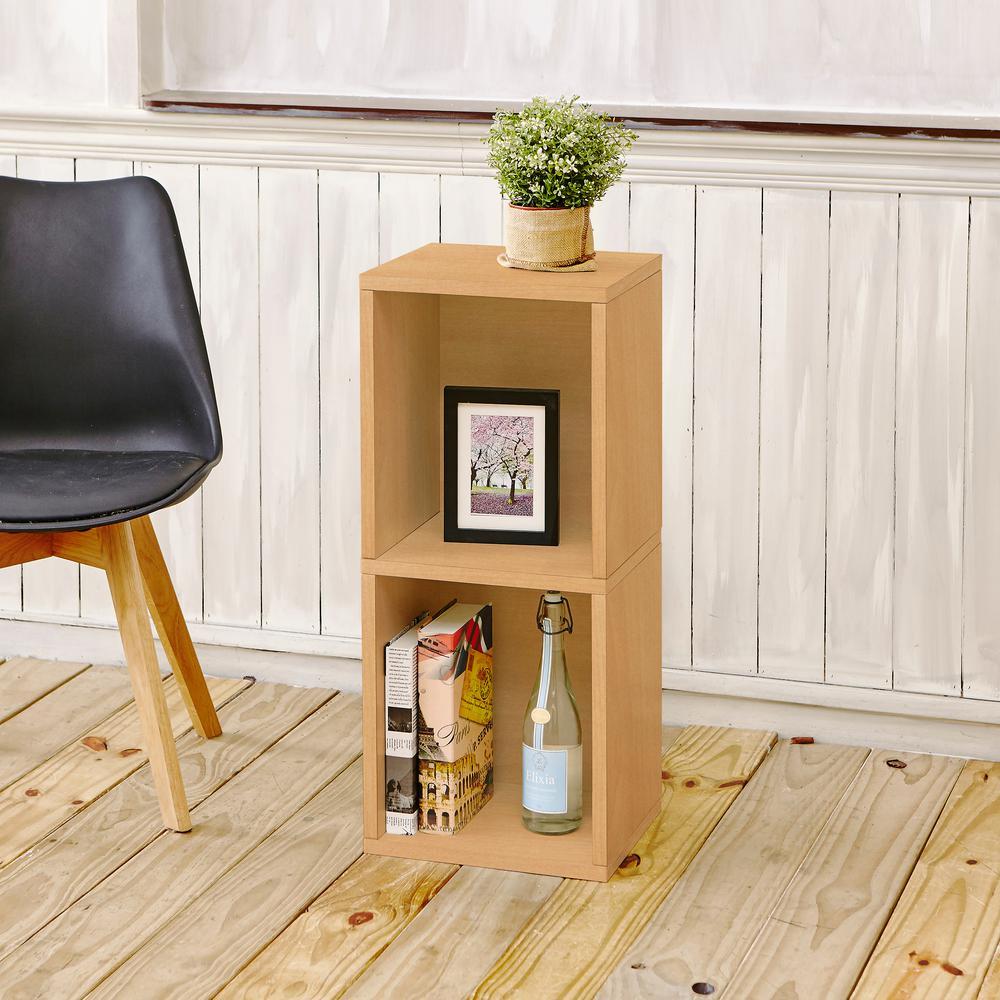 Way Basics Deux 2-Shelf Narrow zBoard  11.2 in. x 13.4 in. x 30.2 in. Tool-Free Assembly Bookcase Storage Shelf in Natural Grain