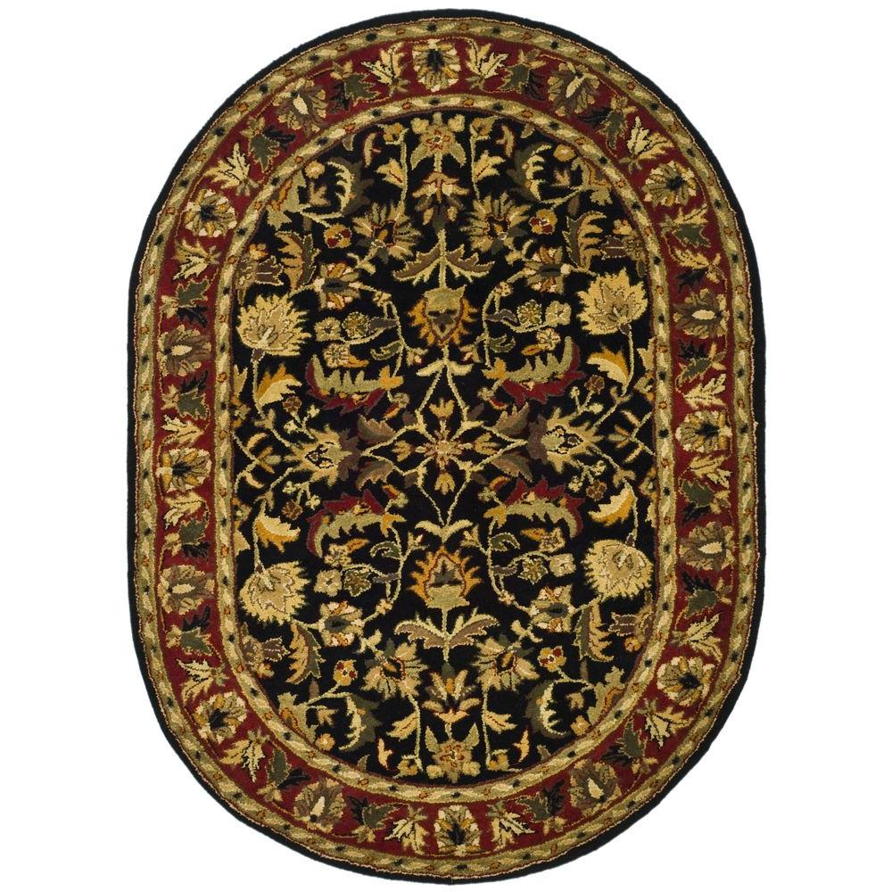 Safavieh Heritage Black Red 5 Ft X 7 Ft Oval Area Rug