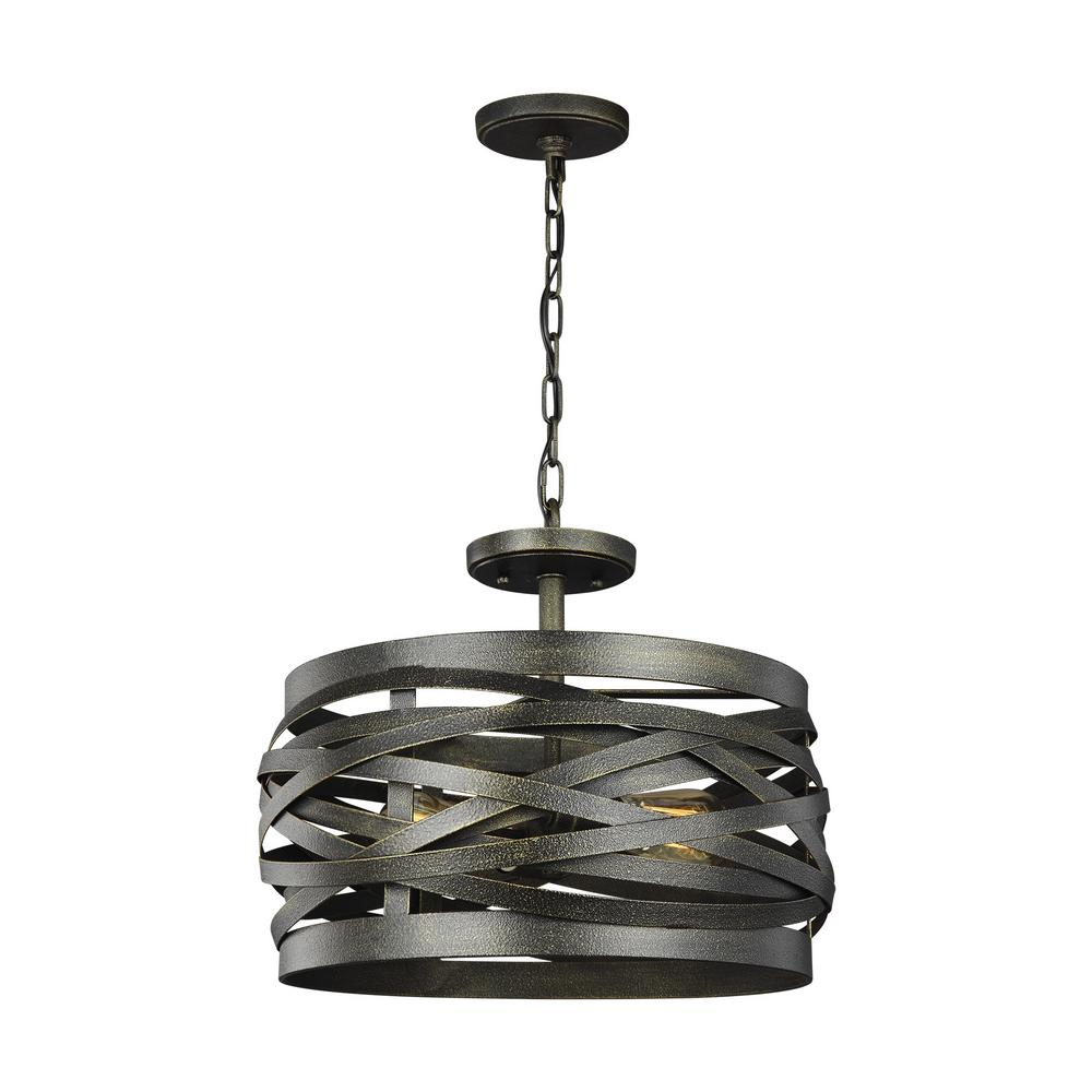 Sea Gull Lighting Cowen 2-Light Obsidian Mist Semi-Flush Mount Convertible Pendant