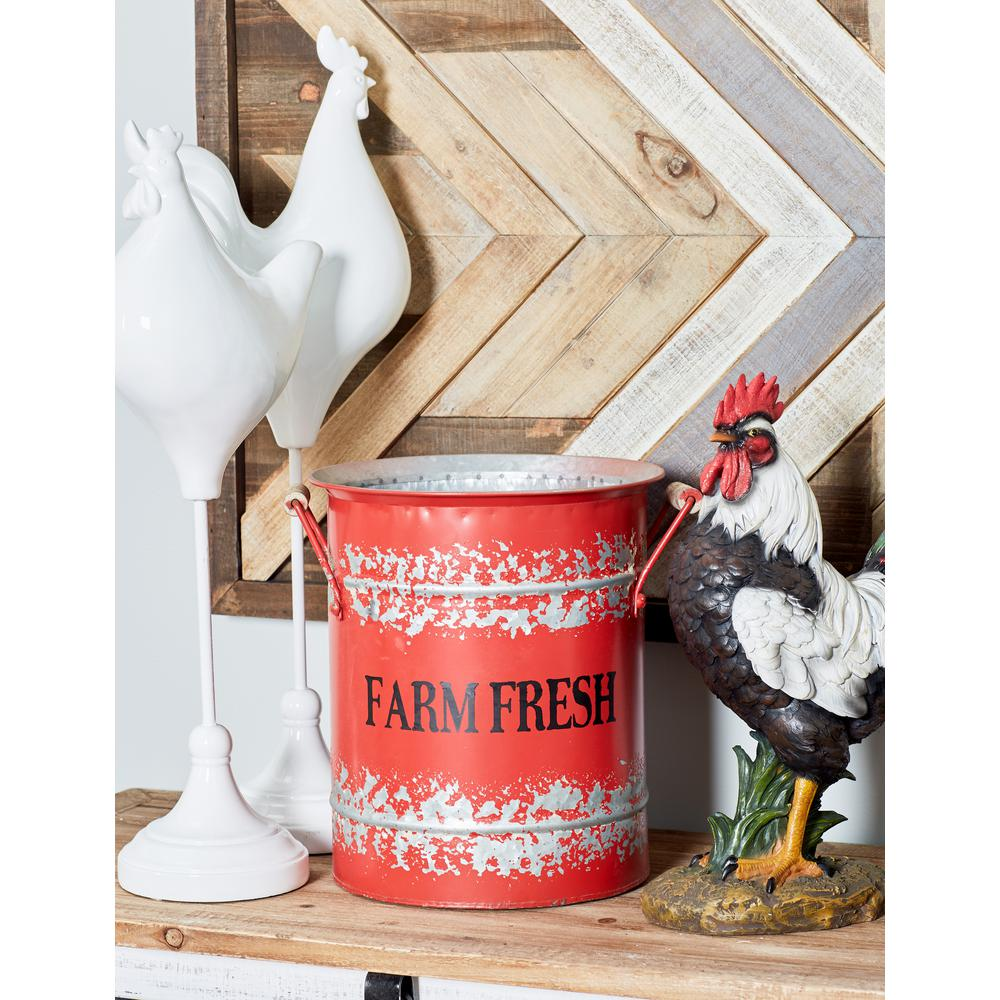 "Red Iron and Wood Planters with ""Farm Fresh"" Texts (Set of"