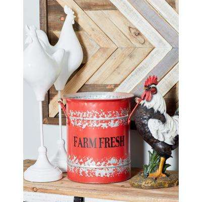 "Red Iron and Wood Planters with ""Farm Fresh"" Texts (Set of 2)"