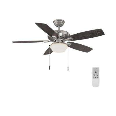 Gazebo 52 in. LED Brushed Nickel Ceiling Fan with Light and Remote Control works with Google and Alexa