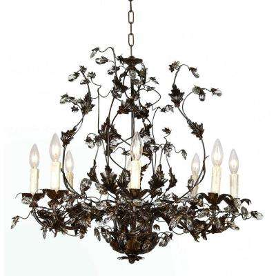 Candle style brown cottage chandeliers lighting the home xavier 8 light brown chandelier aloadofball Gallery