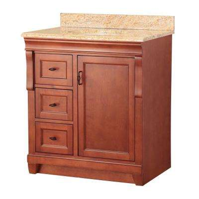 Naples 31 in. W x 22 in. D Vanity in Warm Cinnamon with Left Drawers with Vanity Top and Stone Effects in Tuscan Sun