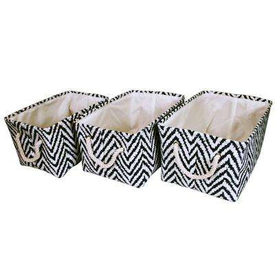 17 in. x 9.4 in. Rectangular Fabric Basket Set with Rope Handles