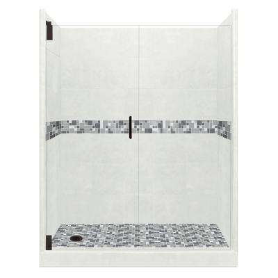 Newport Grand Hinged 36 in. x 60 in. x 80 in. Left Drain Alcove Shower Kit in Natural Buff and Black Pipe Hardware