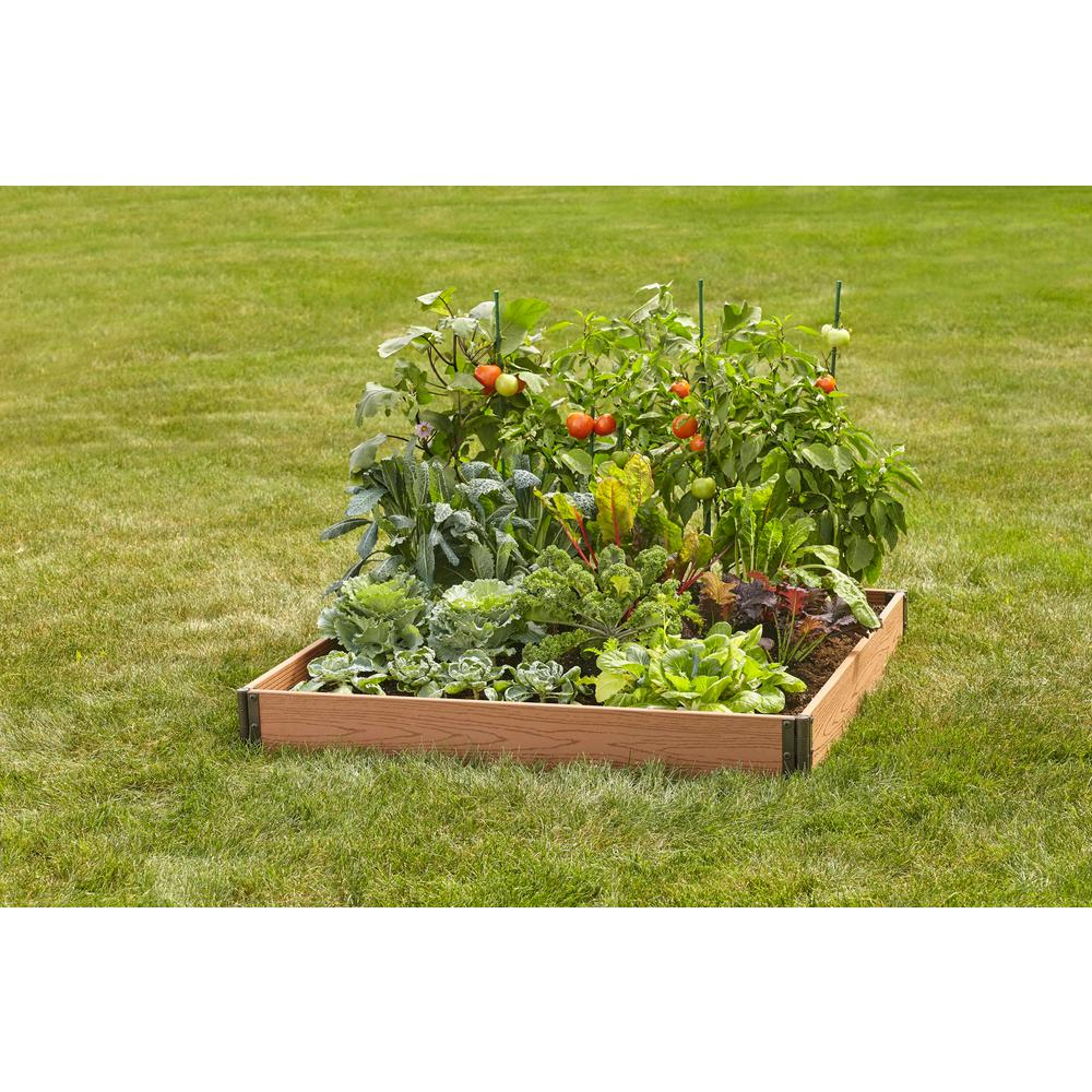 Vigoro 4 ft. x 4 ft. Brown Wood and Plastic Composite Raised Garden Bed
