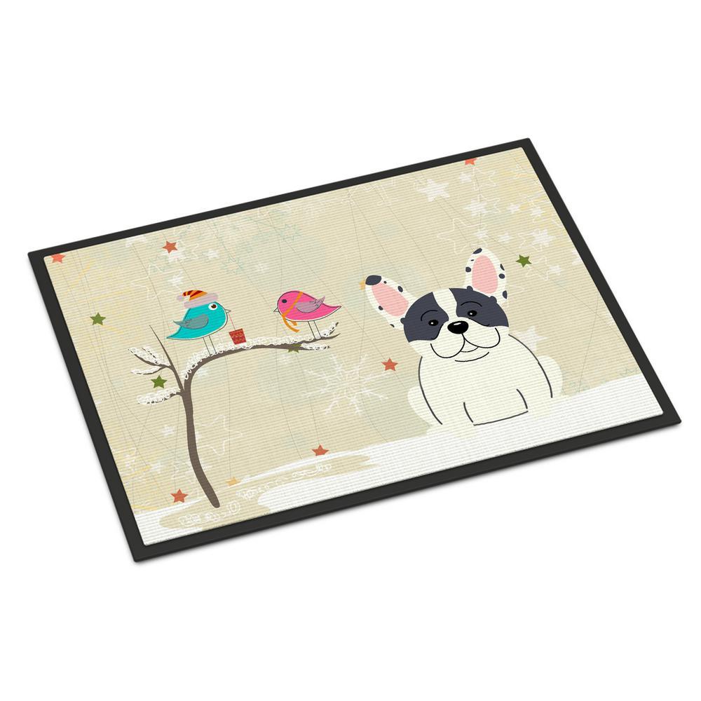 18 in. x 27 in. Indoor/Outdoor Christmas Presents between Friends French Bulldog Piebald Door Mat