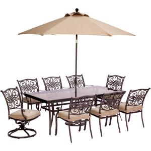 Hanover 9-Piece Outdoor Dining Set with Rectglr Glass Table and 2 Swivels with... by Hanover