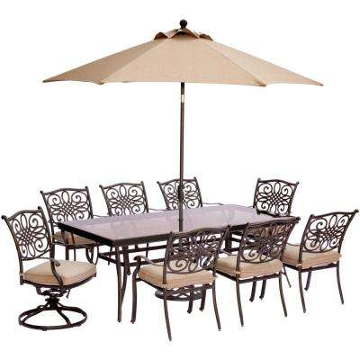 9-Piece Outdoor Dining Set with Rectglr Glass Table and 2 Swivels with Natural Oat Cushions, Umbrella and Base