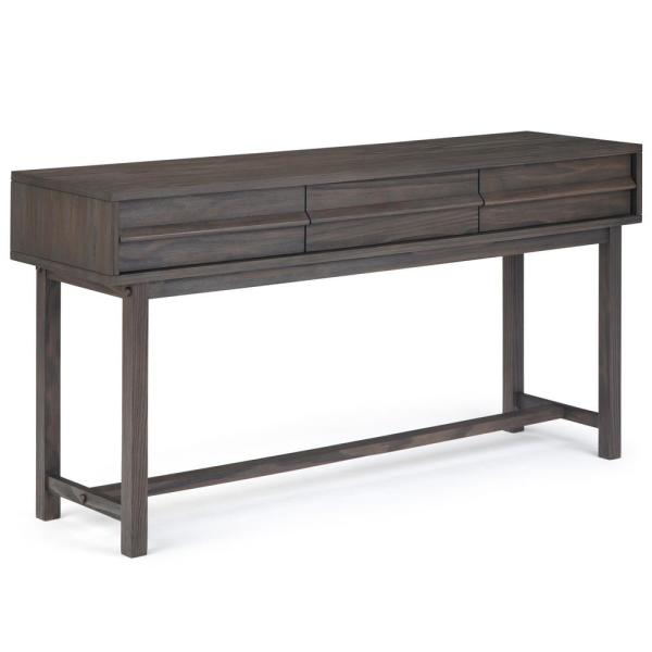 Simpli Home Tabler Solid Wood 60 in. Wide Rustic Modern Wide Console ...