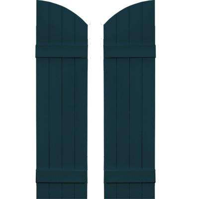 14 in. x 49 in. Board-N-Batten Shutters Pair, 4 Boards Joined with Arch Top #166 Midnight Blue