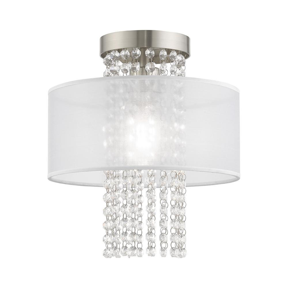 Livex Lighting Bella Vista 11 in. 1-Light Brushed Nickel Semi-Flush Mount Light