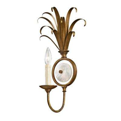Pinnacle 1-Light Burnished Gold Sconce with Marble Accent