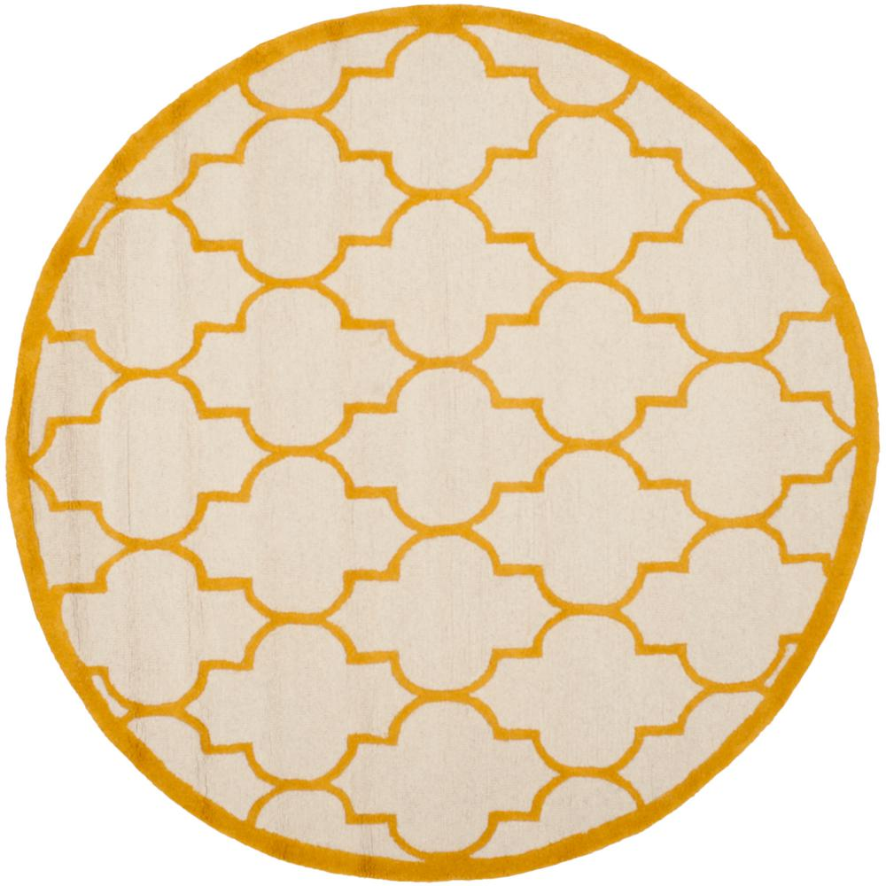 Cambridge Ivory/Gold 6 ft. x 6 ft. Round Area Rug