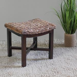 Stupendous Arizona Abaca Rectangular Cushioned Stool With Mahogany Legs Ncnpc Chair Design For Home Ncnpcorg