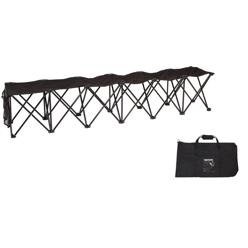 Portable 6-Seater Folding Black Team Sports Sideline Chair