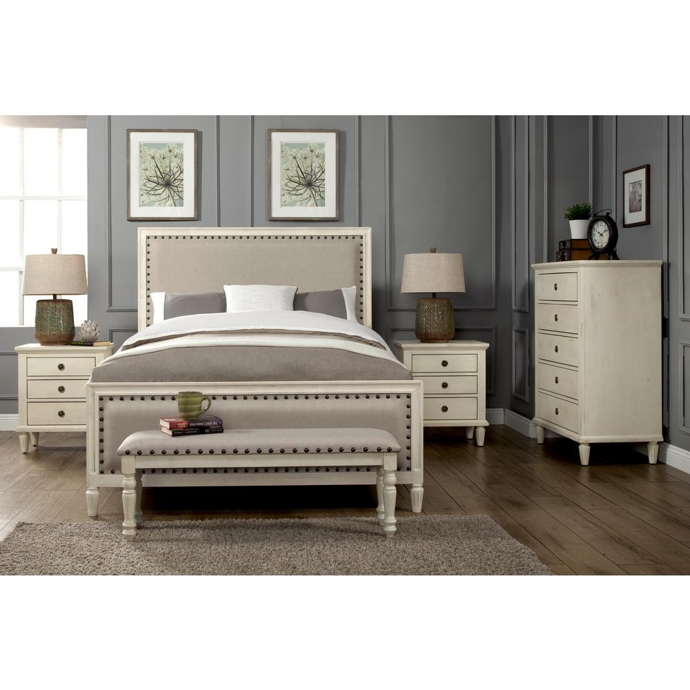 Luxeo Queen Set Solid Wood Upholstered Trim White Wash
