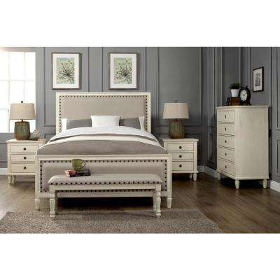 Cambridge 5 Piece Queen Bedroom Set With Solid Wood And Upholstered Trim In White Wash