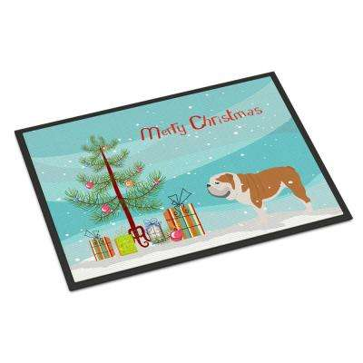 18 in. x 27 in. Indoor/Outdoor English Bulldog Merry Christmas Tree Door Mat