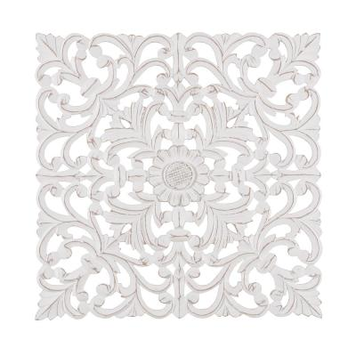 Fronti 23.5 in. x 23.5 in. White Medallion by Madeleine Home Wooden Wall Art/ Sculptures
