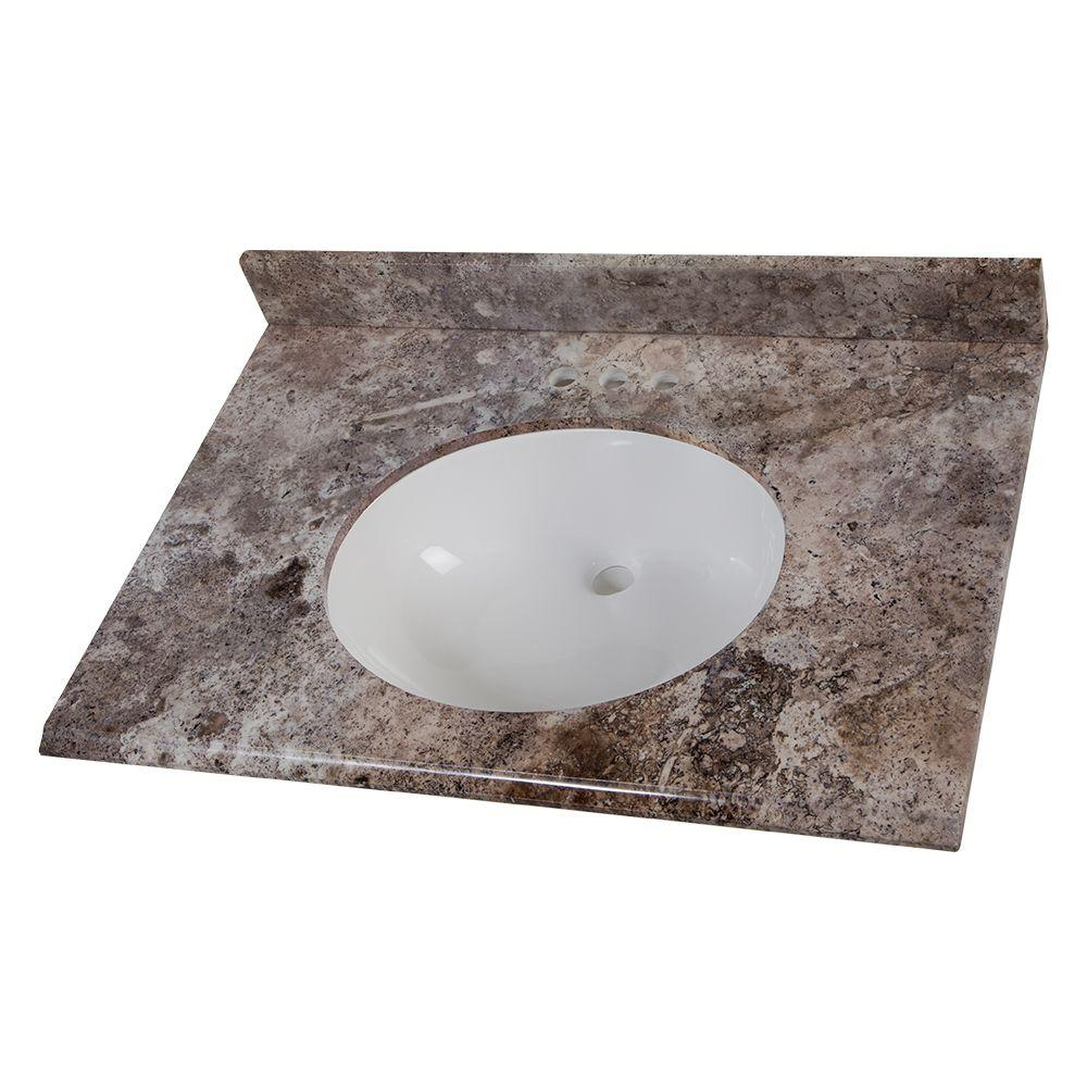 31 in. W Stone Effects Vanity Top in Avalon with White