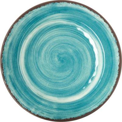 Mingle Collection Shatterproof 11 in. Melamine Dinner Plate in Aqua (Set of 4)