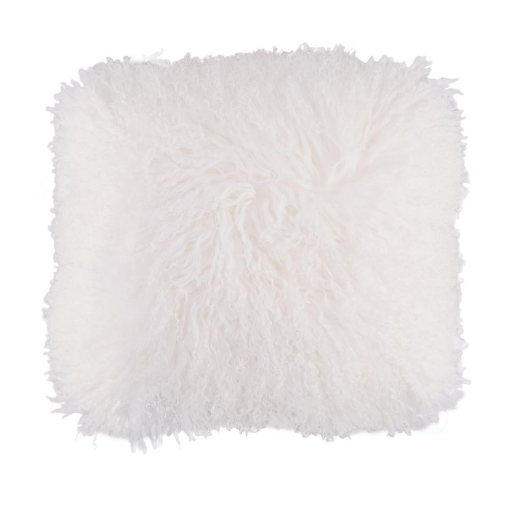 DEERLUX Genuine Mongolian Lamb Fur Sheepskin White 16 in. Square Pillow Cover