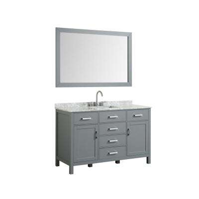 Hampton 55 in. Bath Vanity in Gray with Marble Vanity Top in Carrara White with White Basin and Mirror