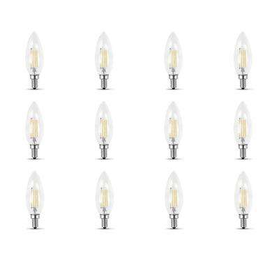 60W Equivalent Daylight (5000K) B10 Candelabra Dimmable Filament LED Clear Glass Light Bulb (Case of 12)