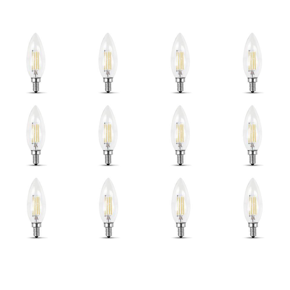 60-Watt Equivalent B10 Candelabra Dimmable Filament Clear Glass Chandelier LED Light Bulb, Daylight (12-Pack)