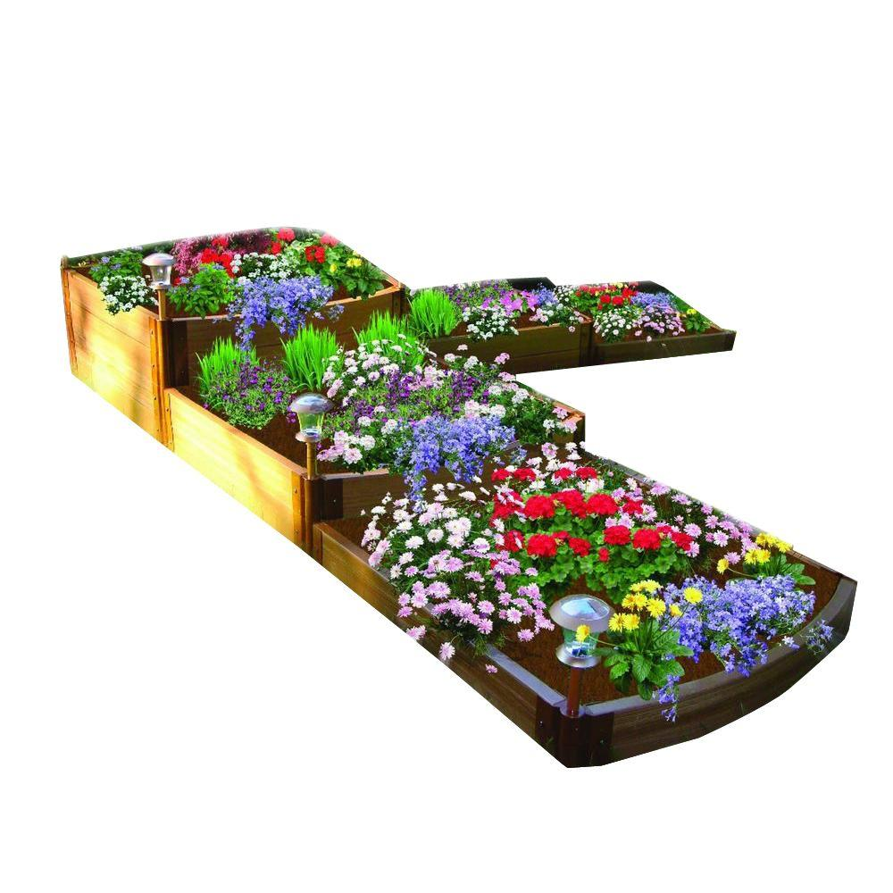 Frame It All Two Inch Series 12 ft. x 12 ft. x 22 in. Composite Split Waterfall Raised Garden Bed Kit