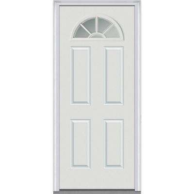34 in. x 80 in. Clear Left-Hand Round Top 1/4 Lite 4-Panel Classic Primed Fiberglass Smooth Prehung Front Door