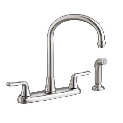 Colony Soft 2-Handle Standard Kitchen Faucet with Side Sprayer and Gooseneck Spout in Stainless Steel