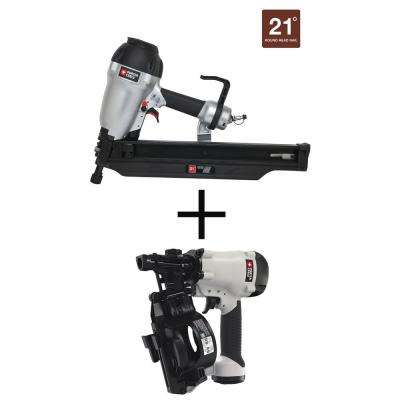 21-Degree 3-1/2 in. Full Round Framing Nailer with Bonus Pneumatic 15-Degree Coil Roofing Nailer