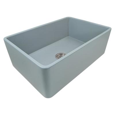 Reversible Farmhouse Apron-Front Fireclay 33 in. x 20 in. Single Bowl Kitchen Sink in Horizon Gray