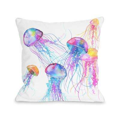 Jellyfish 16 in. x 16 in. Decorative Pillow