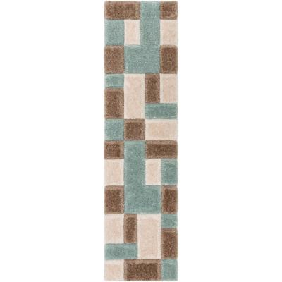San Francisco Escondido Blue Modern Geometric Squares 2 ft. 7 in. x 9 ft. 10 in. 3D Carved Shag Runner Rug