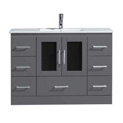 Zola 48 in. W Bath Vanity in Gray with Ceramic Vanity Top in Slim White Ceramic with Square Basin and Faucet