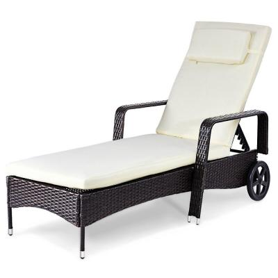 Patio Rattan Wicker Outdoor Lounge Chair with White Cushions Chair Recliner Furni Adjustable Back Wheel