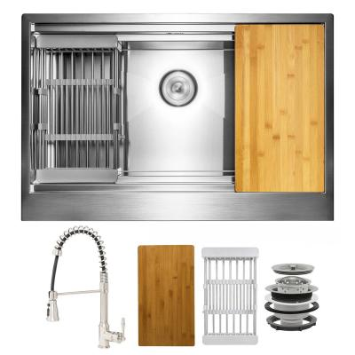 Handmade All-in-One Farmhouse Stainless Steel 33 in. x 20 in. Single Bowl Kitchen Sink with Spring Neck Faucet Accessory