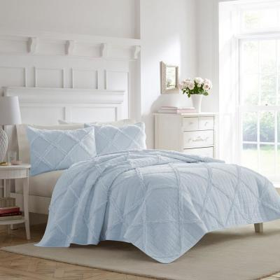 Maisy 3-Piece Blue Cotton Full/Queen Quilt Set
