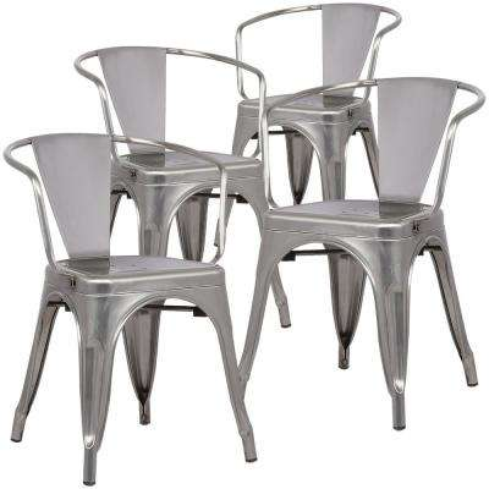 Cantina Polished Gunmetal Arm Chair (Set of 4)