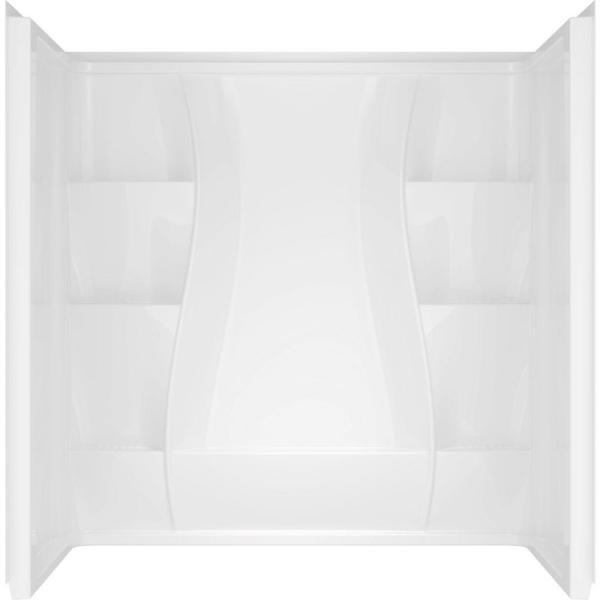 Classic 400 Curve 30 in. x 60 in. x 62 in. 3-Piece Direct-to-Stud Tub Surround in High Gloss White