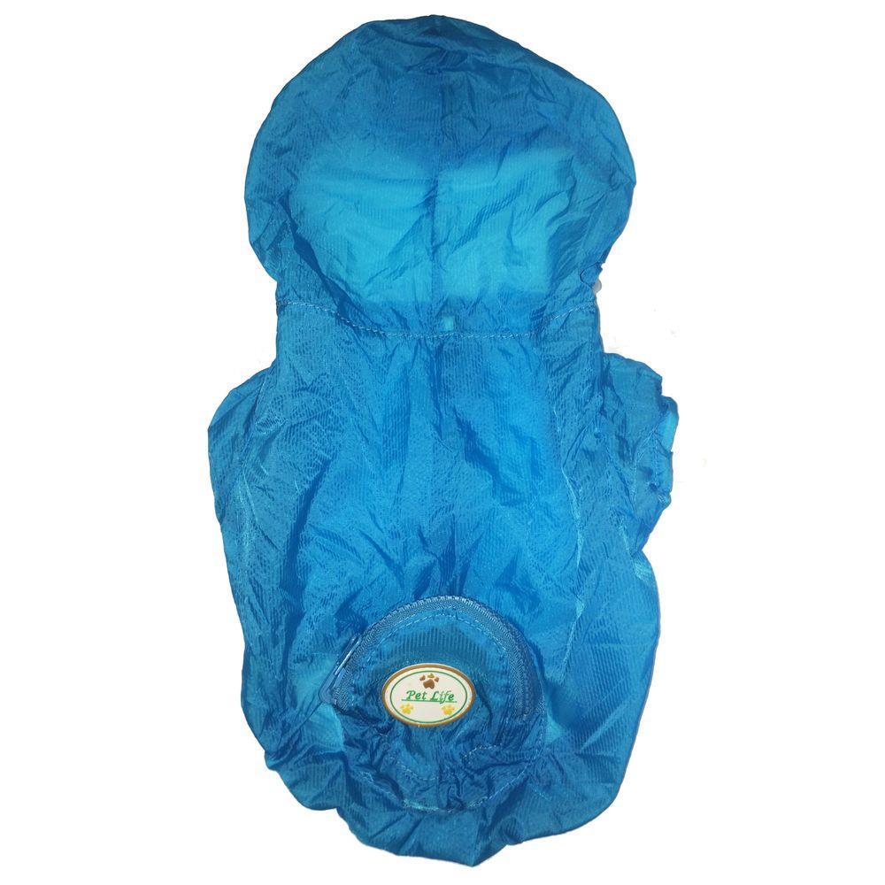 Small Blue the Ultimate Waterproof Thunder-Paw Adjustable Zippered Folding Travel Dog Raincoat