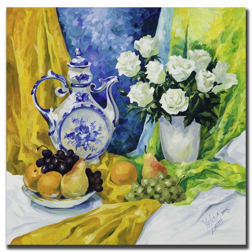Trademark Fine Art 18 inch x 18 inch Still Life with Blue Teapot Canvas Art by Trademark Fine Art