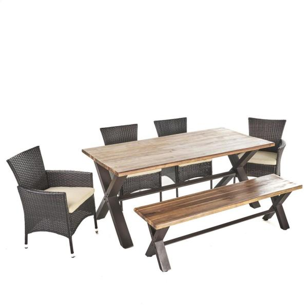 Greta 6-Piece Acacia Wood Rectangular Outdoor Dining Set with Bench and Beige Cushions