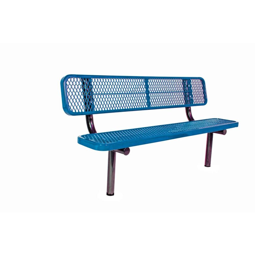 Ultra Play 6 ft. Diamond Blue Commercial Park Bench with Back Surface Mount