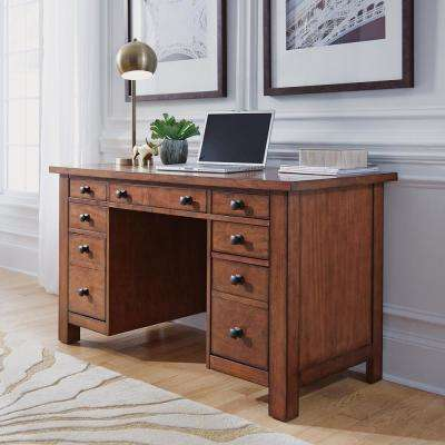 Tahoe Aged Maple Executive Pedestal Desk