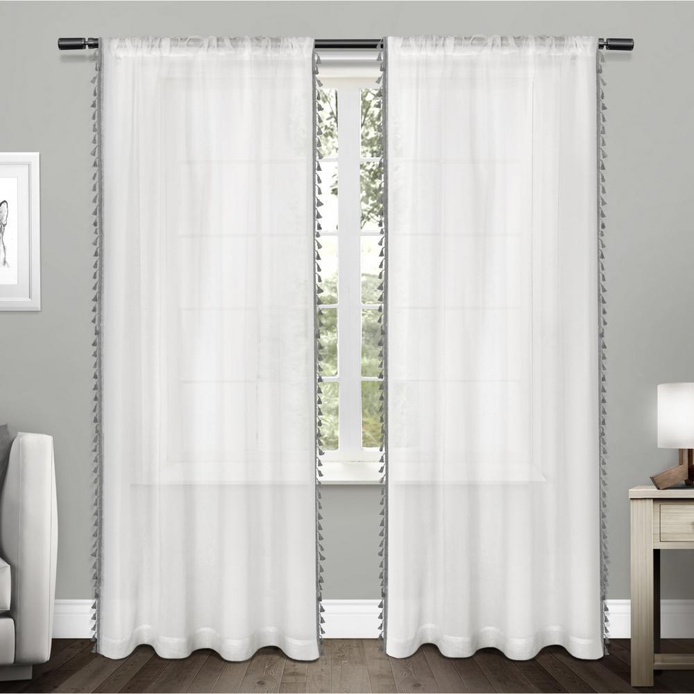 Tassels 54 in. W x 96 in. L Sheer Rod Pocket Top Curtain Panel in Black Pearl (2 Panels)